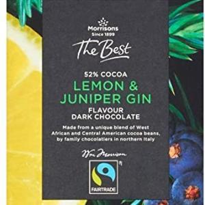 Morrisons 52% Cocoa Lemon & Juniper Gin Flavored Swiss Chocolate