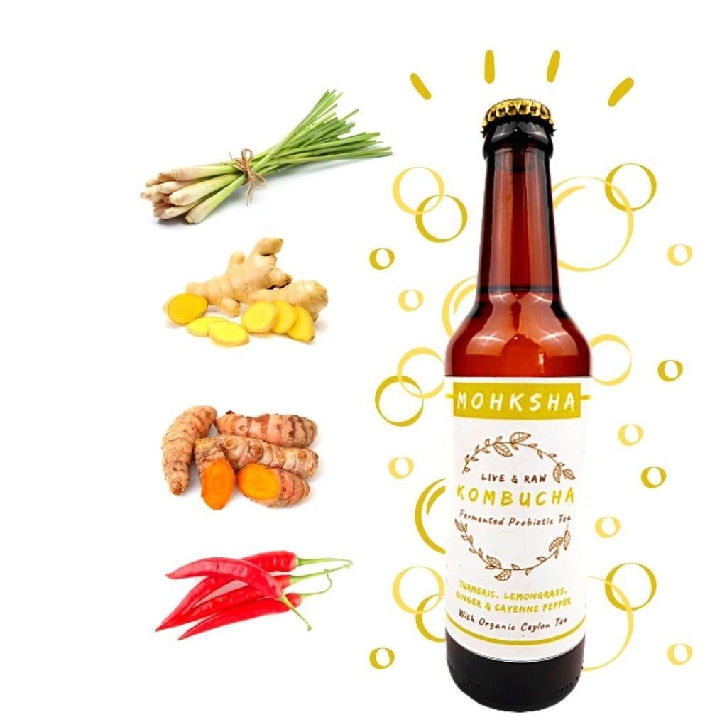 Mohksha Kombucha Lemongrass, Ginger, Turmeric and red Chilli 330ml