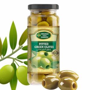 Virginia Green Garden Pitted Green Olives 340g