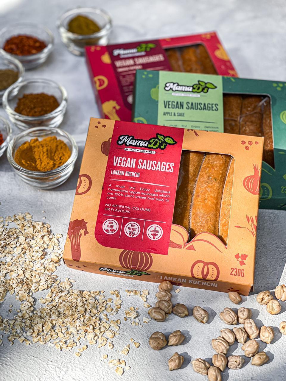 Mama D's Lankan Kochchi Vegan Sausages Pack of 6